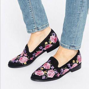 ASOS rose black loafers slip on shoes nwot 10